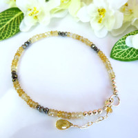 Citrine and pyrite rondelle gold filled bracelet