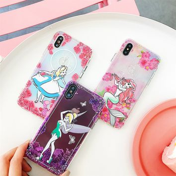 DTFQ Anti-knock Soft TPU Cover Alice in Wonderland Tinker Bell Mermaid Embossed Printing Phone Case for iPhone X 6 6s 7 7 Plus 8