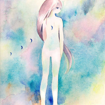 "Original Watercolor Painting F0-size ""月がついてくる"" the moon follows me  - fantasy illust,girl illustration,paper mounted on wood panel"