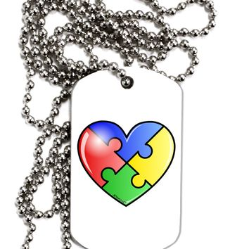 Big Puzzle Heart - Autism Awareness Adult Dog Tag Chain Necklace by TooLoud