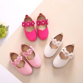 White Pink Kids Baby Toddler Flower Children Wedding Party Dress Princess Leather Shoes For Girls School Dance Shoes 1-16y