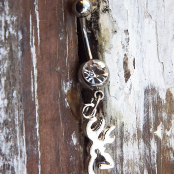 Browning deer belly button ring, silver browning deer, country jewelry, redneck, wedding gift, western ammo chic, camo hunter jewelry