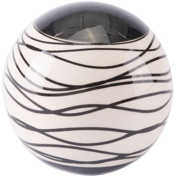 Black & Ivory Stripes Orb Figurine, Medium