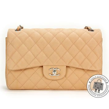Auth New Chanel CC Large Classic A58600 Jumbo Beige Caviar Flap Bag silver