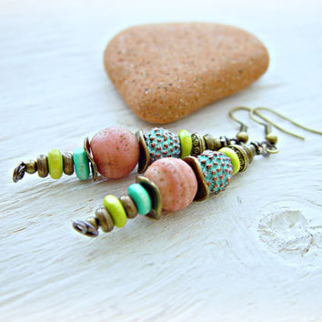 Boho Hippie Earrings - Hippie Earrings - Boho Jewelry - African Earrings - Upcycled Earrings - Eco Earrings - Tribal Earrings