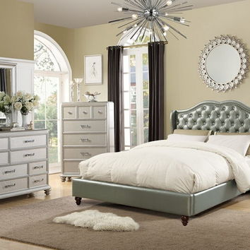 4 pc Janelle III collection silver faux leather tufted upholstered queen bed set