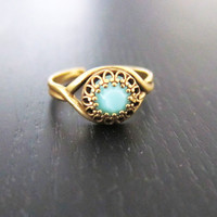 Turquoise Ring - Gold Antique Brass Bezel