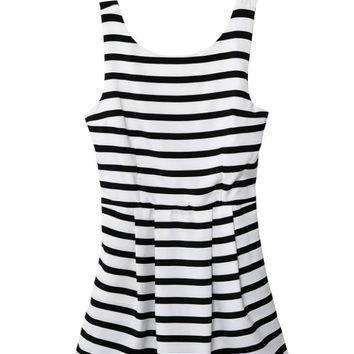 Summer Women's Fashion Slim Stripes Backless Casual Shorts Jumpsuit [4918010116]