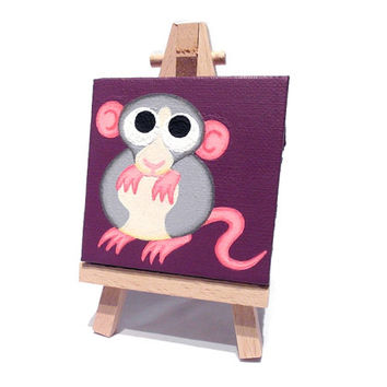 Dumbo Rat Mini Painting - a cute grey and white rat on a miniature canvas with easel
