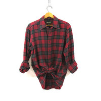 Vintage red Plaid Flannel / Grunge Shirt / Boyfriend button up shirt / preppy flannel