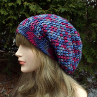 Mixed Berries Multicolor Slouch Beanie, Womens Slouchy Crochet Hat, Oversized Slouchy Beanie, Chunky Hat, Baggy Beanie, Winter Slouchy Hat