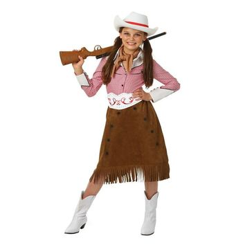 Girl West Rodeo Cowgirl Historical Child Halloween Costume Shirt, Skirt, Belt, Scarf, Hat One Set  Cosplay Cowboy Costume