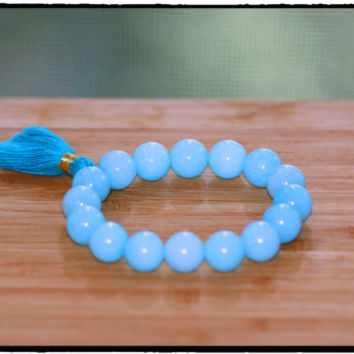 13mm Australian Amazonite Stretch Bracelet with AWESOME Stubby Tassel, Boho FUNKY Chic, Statement Stacking Bracelet, FUN, Yoga Inspired