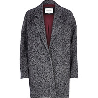 River Island Womens Grey tweed oversized coat