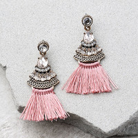 Tuscan Sun Gold and Pink Rhinestone Tassel Earrings