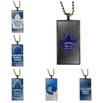 For Women Gifts Boy Jewelry With Bronze Plated Glass Cabochon Choker Long Pendant Rectangle Necklace Nhl Toronto Maple Leafs