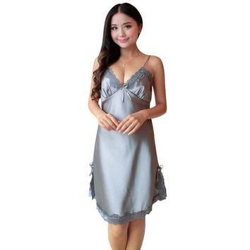 DCCKFV3 Sexy Women Silk Satin Night Dress Sleeveless Nightgown Nightdress Lace Sleepwear Nightwear