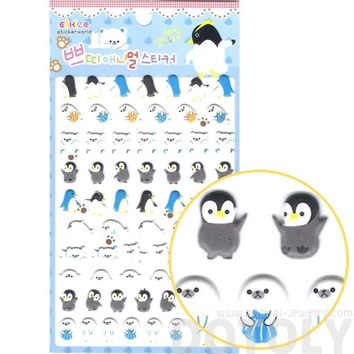 Cute Penguins Otters Polar Bear Shaped Arctic Animal Puffy Stickers for Scrapbooking
