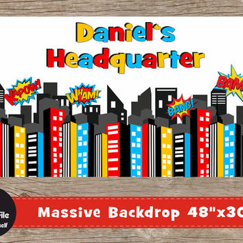 "Superhero Backdrop - Play Room Decor, 48x30"", Personalized Printable Wall Art, City Skyline Print, Superheroes Birthday Party Supplies"
