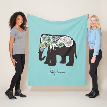 Paisley Elephant Big Love Cute Modern Turquoise Fleece Blanket