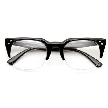 Retro Dapper Indie Clear Lens Half Frame Glasses 9404