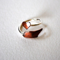 Tennessee Heart Love Twist State Ring (Sterling Silver & Copper TN Ring)