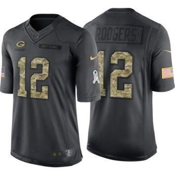 VLX9RV NFL Green Bay Packers Aaron Rodgers #12 Salute to Service Nike Men's Home Limited Jer