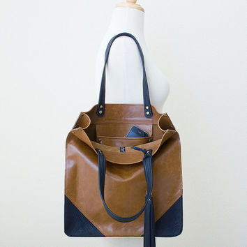 Distressed Brown and Black Leather Tote with Tassel Keychain Purse Charm