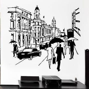 Wall Decal London Street England English Europe Travel Decor For Bedroom Unique Gift (z2640)