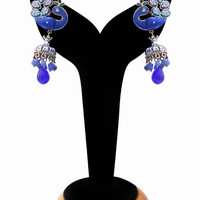 Peacock Earrings for Women in Beautiful Blue Beads from India