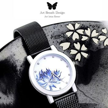 lady gift Enmex stainless steel band Lotus chinese style original design Oriental Graceful Underglaze fashion quartz watche