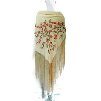Art Deco Piano Scarf Fringed Shawl with Cherry Blossom Embroidery