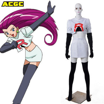 Pokemon Costume Jesse Team Rocket Costume Anime Pocket Monster Cosplay 5 Piecesset Halloween Costumes For Women Party Carnival