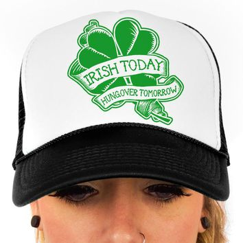 Irish Today, Hungover Tomorrow, St Patrick's Day, Trucker Hat, Baseball Cap, Party, Adjustable, Snap-back, OTTO Cap, Unisex Accessories