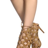 Camel Faux Suede Cut Out Lace Up Heels