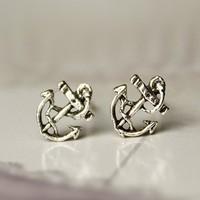 Fashion Silver retro anchor earrings
