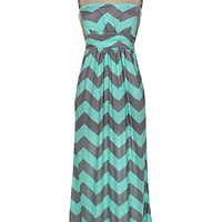 Chevron Maxi Dress - Mint and Grey - Hazel & Olive
