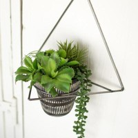 Raw Metal Wall Planter With Black Clay Pot