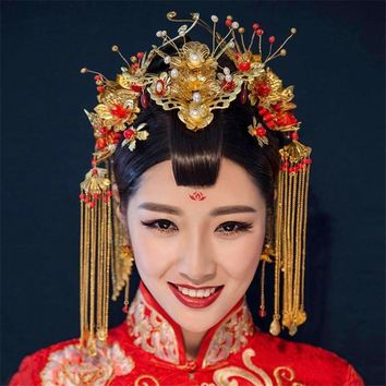 Vintage Chinese Style Royal Wedding Bridal Headpieces and Jewelry Set