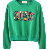 Green Floral Printed Sweatshirt