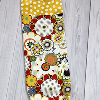 Grocery Bag Holder. Organizer. Mustard Yellow with white dots. Pop Floral Design. Blue, Red, Green, White and yellow with dots.\