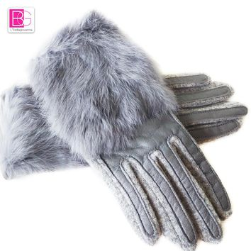 Christmas Gift Winter Spring Fashion Winter Sheepskin Gloves Top Lambskin Solid Real Genuine Leather Women Wrist Driving Glove