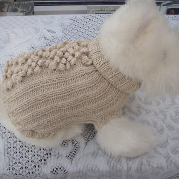 Dog jumper, Cat jumper, Dog clothes, apparel, beige bobble jumper.dog sweater, Hand knitted.