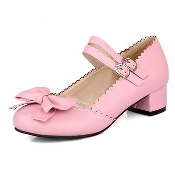 Sweet Princess Shoes Spring Autumn Rough Heel Butterfly Knot Shallow Mouth Women Chunky Heels Pumps
