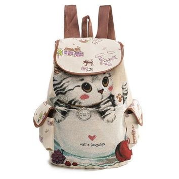 School Backpack trendy Cute Cats Print Backpack For Teenage Women Drawstring Backpacks Girls School Bags Female Canvas Backpack AT_54_4