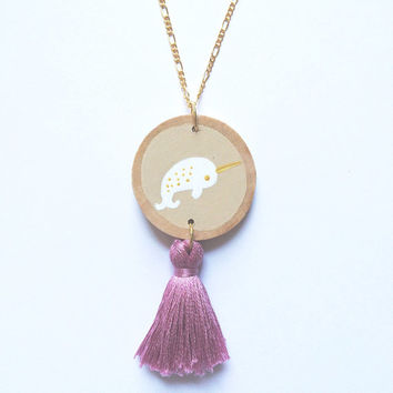 Narwhal Tassel Necklace