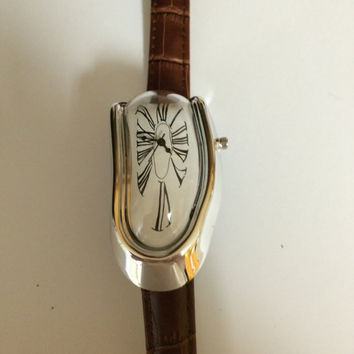 Melting Clock Watch with Brown Leather Band inspired by Salvador Dali