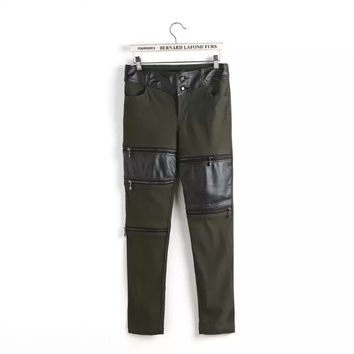 Khaki Green PU Leather Button Trousers With Pockets