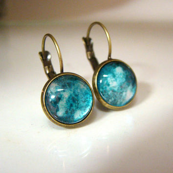 Small Dangle Pierced Snap Back Earrings Teal and silver set in bronze color zinc alloy Alcohol ink earrings Painted glass jewelry