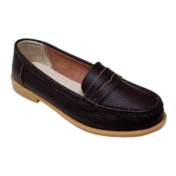 Women's Cognac Penny Loafer Moccasins - CASE OF 12